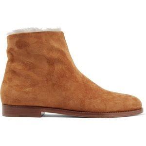 NWOT Mansur Gavriel Shearling-lined Suede Ankle Boots (Camel)